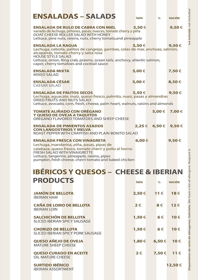 Carta Restaurante La Ragua Ensaladas