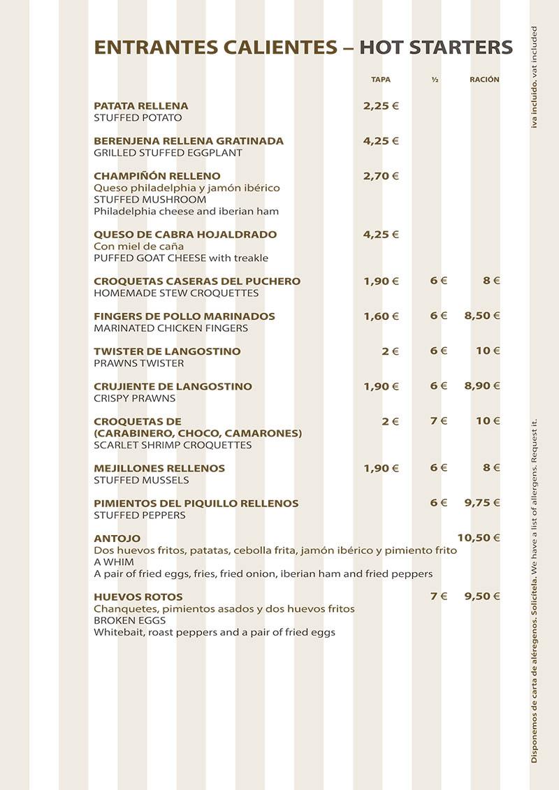 Carta Restaurante La Ragua Entrantes Calientes
