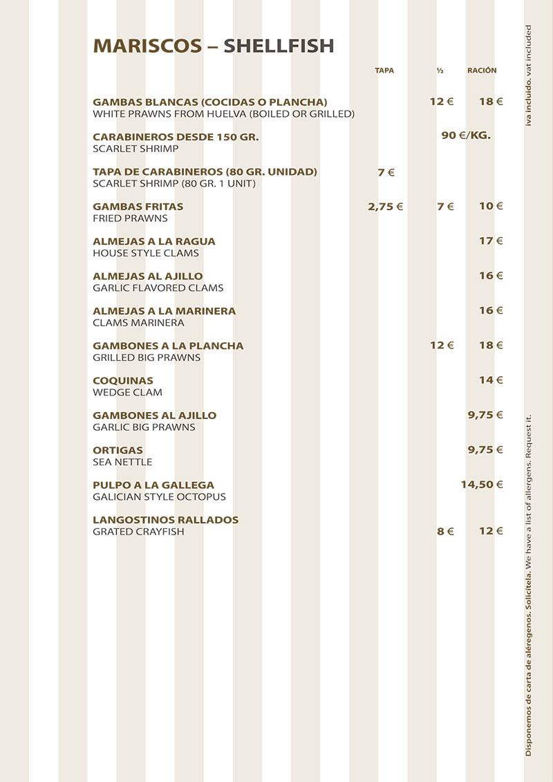 Carta Restaurante La Ragua Mariscos