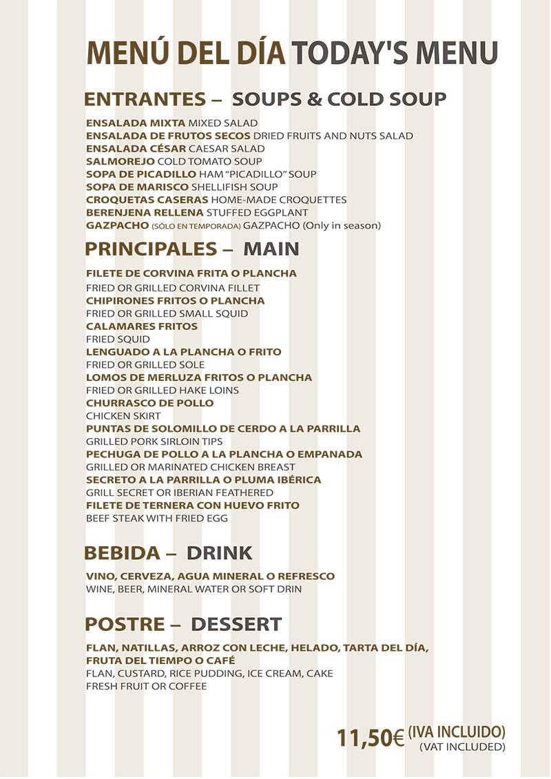 Carta Restaurante La Ragua Menú del Día