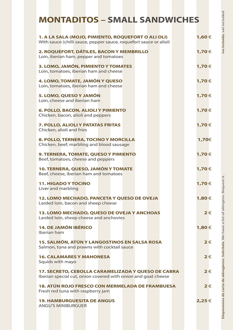 Carta Restaurante La Ragua Montaditos