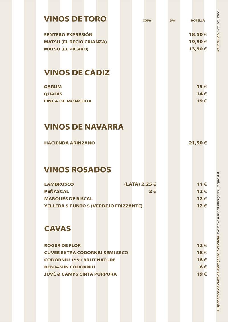 Carta de Vinos Restaurante La Ragua 2020 Otras D.O.