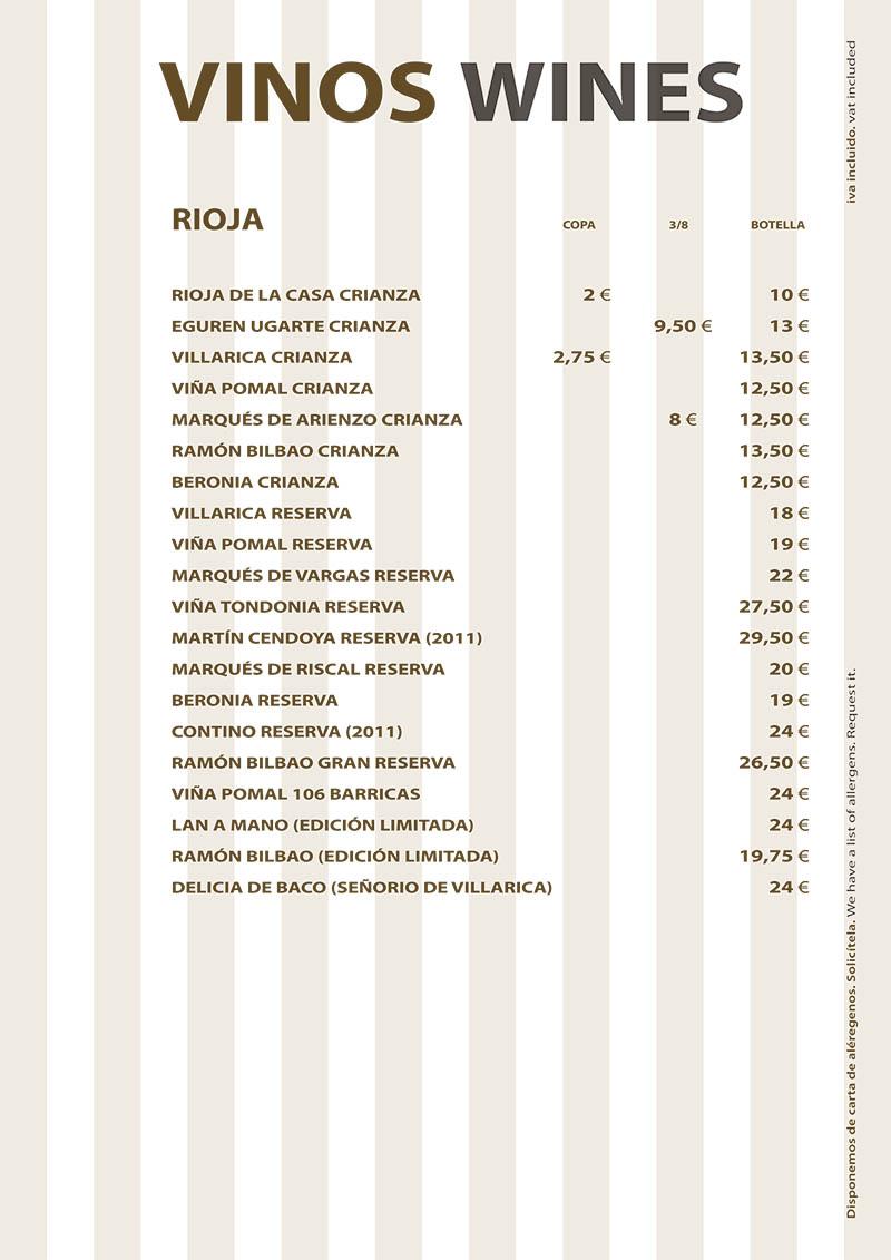 Carta de Vinos Restaurante La Ragua 2020 Rioja