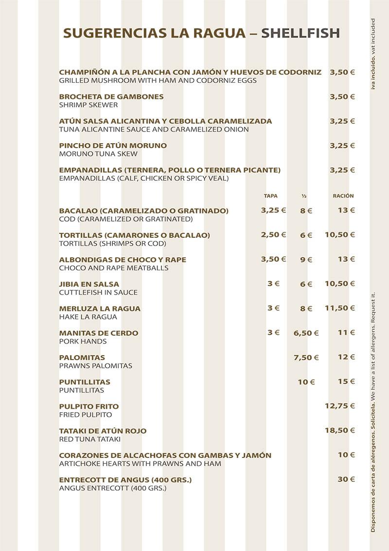 Carta Restaurante La Ragua Sugerencias