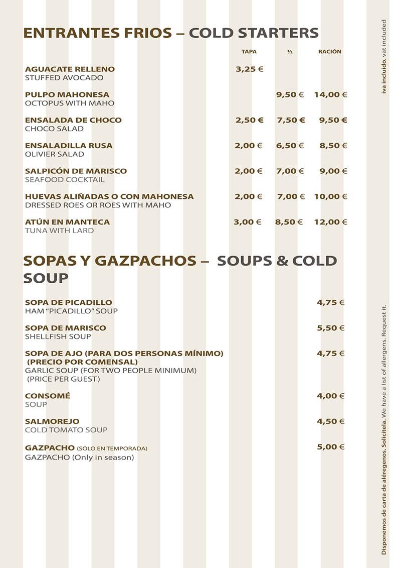 Carta Restaurante La Ragua 2021